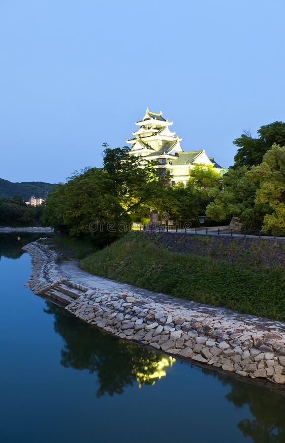 冈山城堡在晚上,日本 免版税图库摄影