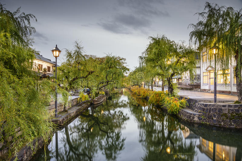 冈山,日本历史的运河 免版税库存图片