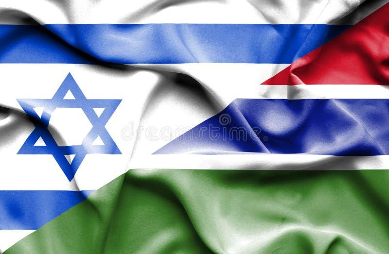 冈比亚和以色列的挥动的旗子 皇族释放例证