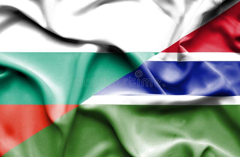 冈比亚和保加利亚的挥动的旗子 库存例证
