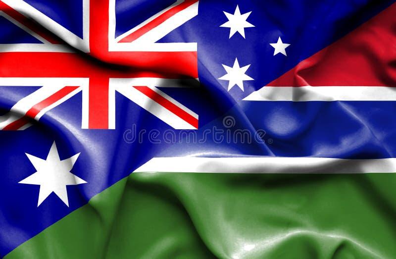 冈比亚和澳大利亚的挥动的旗子 皇族释放例证