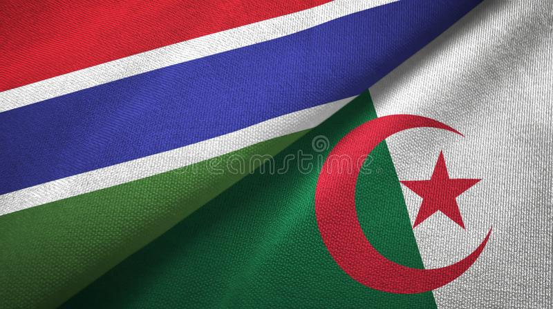 冈比亚和阿尔及利亚两旗子纺织品布料,织品纹理 皇族释放例证