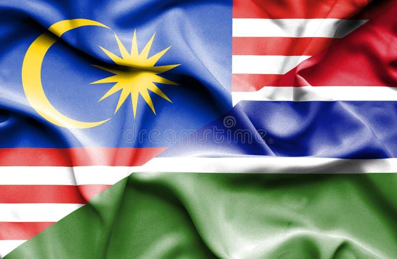 冈比亚和马来西亚的挥动的旗子 库存例证
