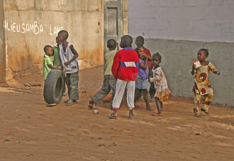 冈比亚孩子使用 库存图片