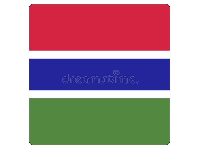 冈比亚的方形的旗子 库存例证