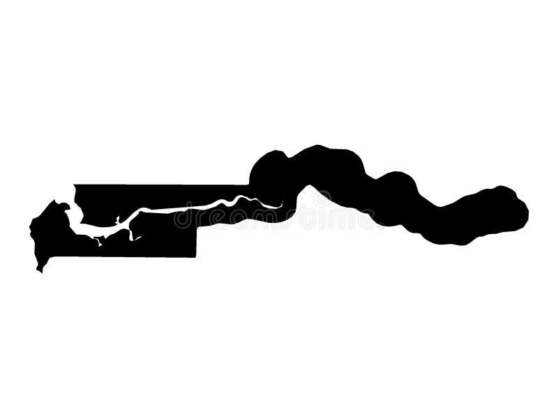 冈比亚的黑地图 库存例证