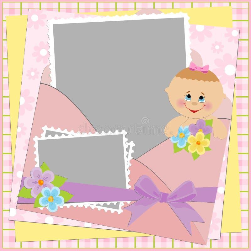 册页婴孩照片s模板 库存例证