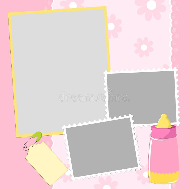 册页婴孩照片s模板 向量例证