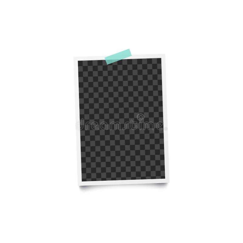 册页空白或空的照片垂直的框架在墙壁上有蓝色橡皮膏大模型的 向量例证