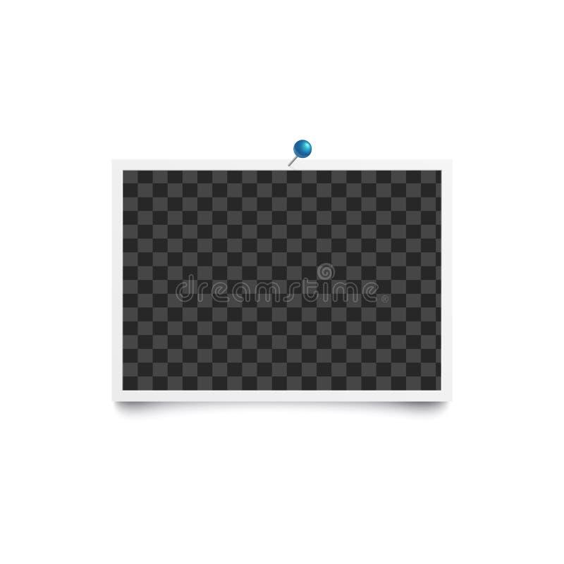 册页空白照片水平的框架被别住对有蓝色别针大模型的白色墙壁 皇族释放例证
