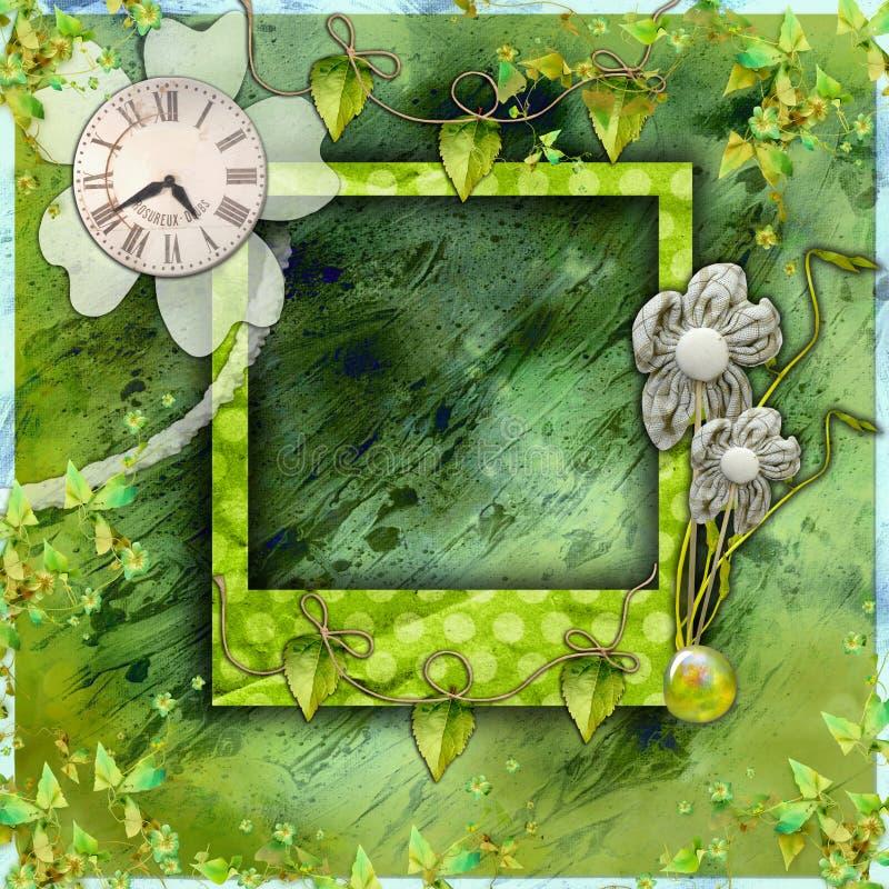 册页绿色照片剪贴薄 库存照片
