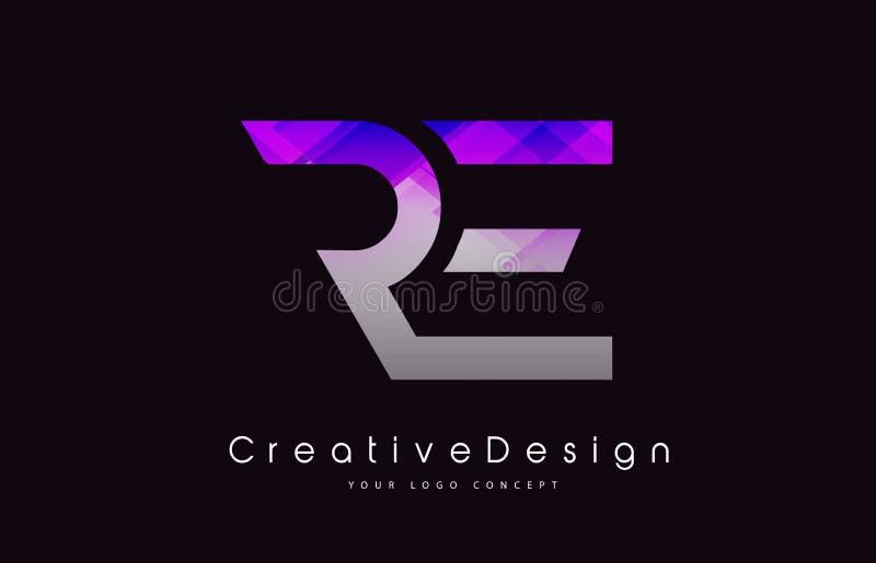 再信件商标设计 紫色纹理创造性的象现代Lette 库存例证