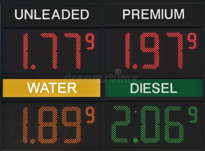 再更加便宜的汽油价格比水 免版税库存照片