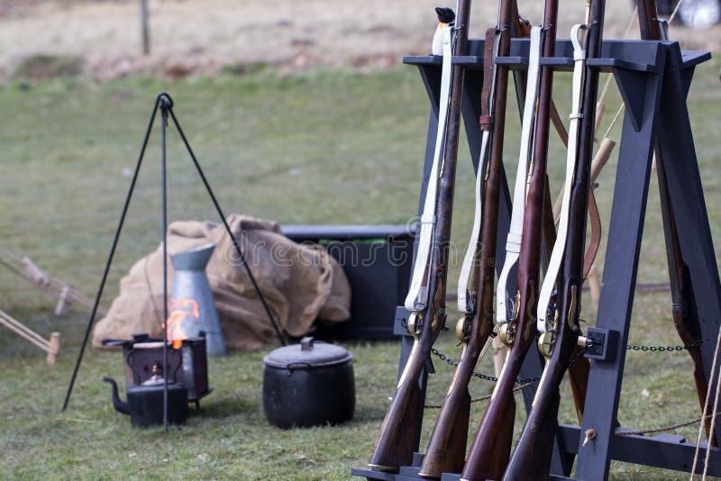 再生产在军营火的葡萄酒步枪 免版税图库摄影