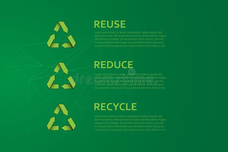 再用减少回收传染媒介例证 Eco友好的生态创造性的概念与回收标志 r 皇族释放例证