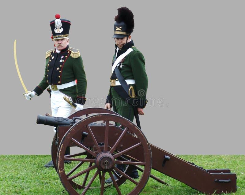 再enactors穿制服作为俄国士兵出席争斗的再制定 库存照片