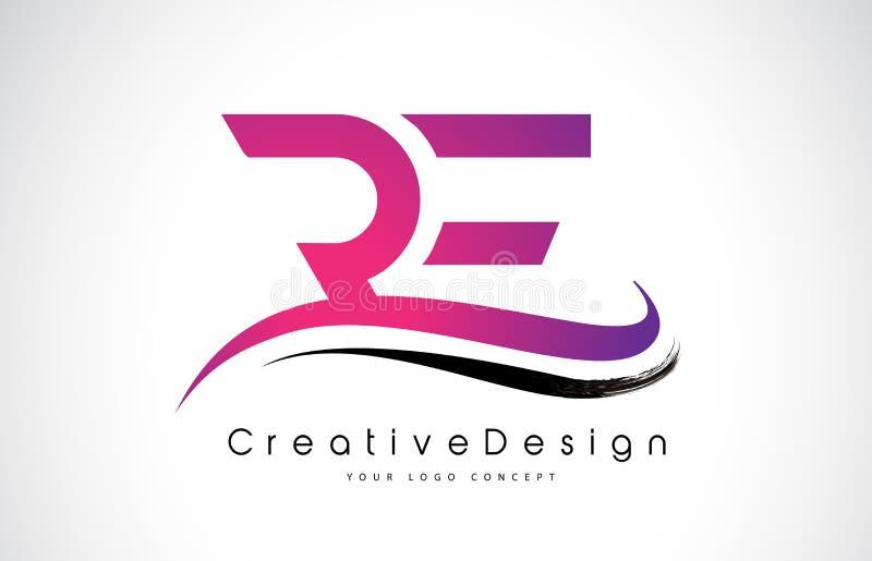 再R E信件商标设计 创造性的象现代信件传染媒介L 向量例证