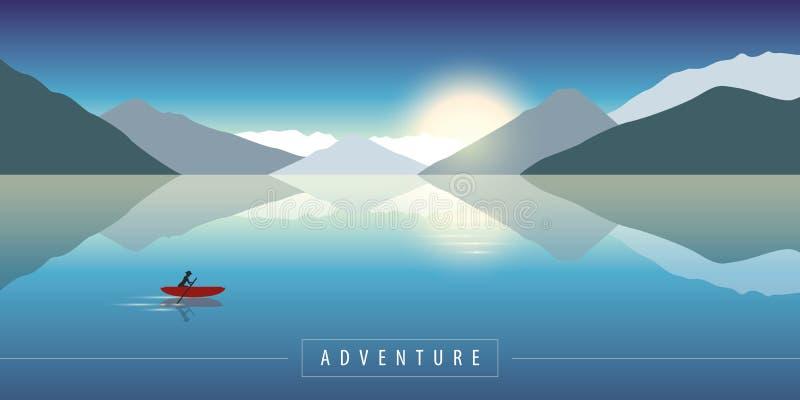冒险在乘独木舟在风平浪静的自然有山景 库存例证