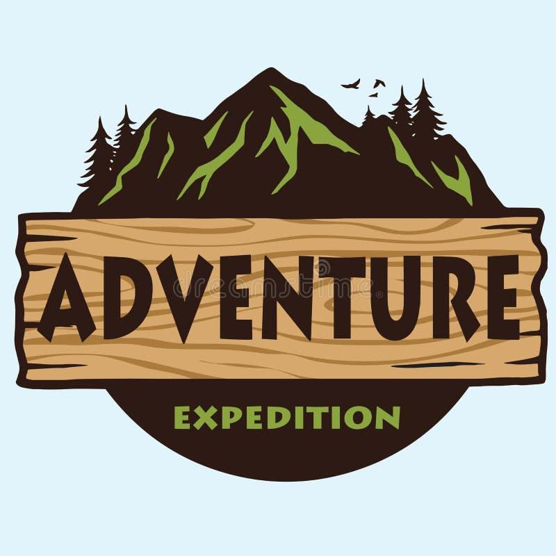 冒险山野营的商标模板传染媒介 向量例证