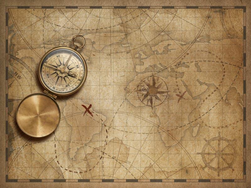 冒险并且探索与老船舶世界地图3d例证地图元素由美国航空航天局装备 皇族释放例证