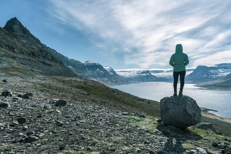 冒险的妇女俯视Alftafjordur海湾,西峡湾区,冰岛 免版税图库摄影