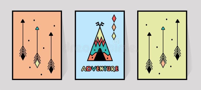 冒险题字和三个箭头印刷品印刷术的 孩子室圆锥形小屋或帐篷墙壁装饰斯堪的纳维亚人的 向量例证