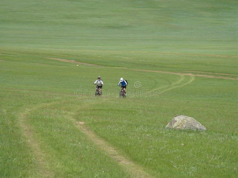 冒险骑自行车的山 免版税库存图片