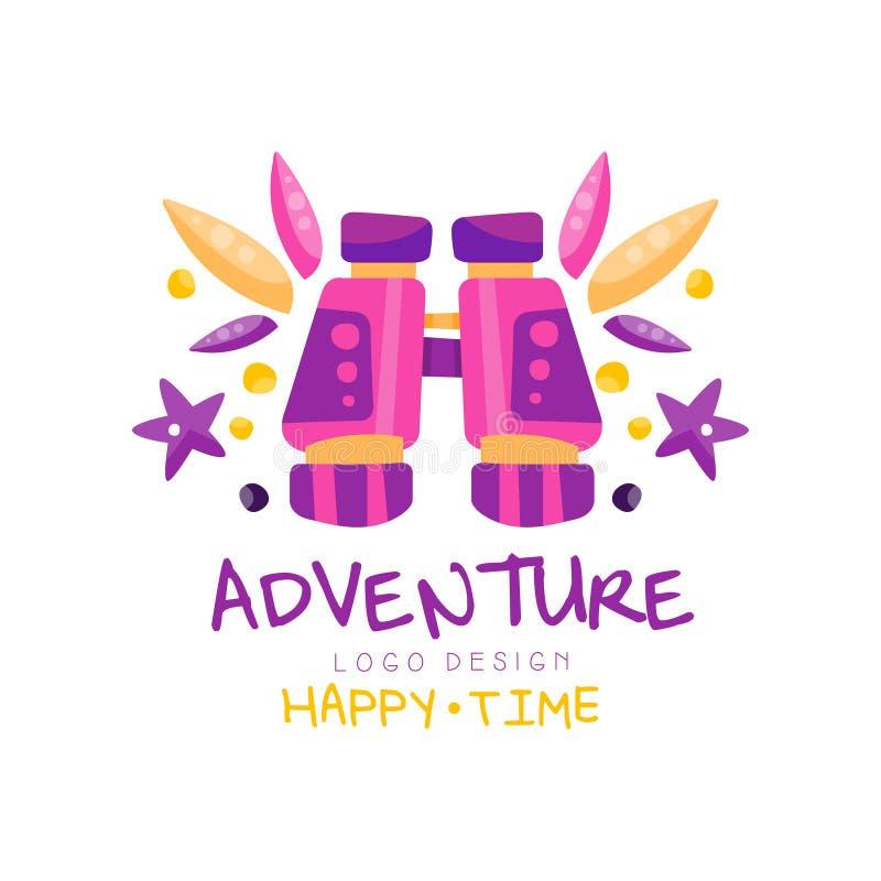 冒险,幸福时光商标设计,暑假,旅行,与双筒望远镜传染媒介的旅行社创造性的标签 向量例证