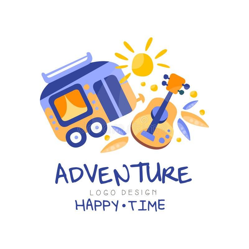 冒险,幸福时光商标设计,暑假,旅行,旅行社创造性的标签传染媒介例证 皇族释放例证