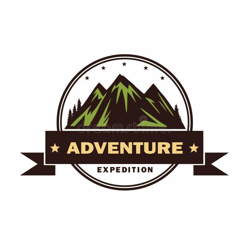 冒险,野营,营火,野营,商标传染媒介例证 葡萄酒设计 库存例证