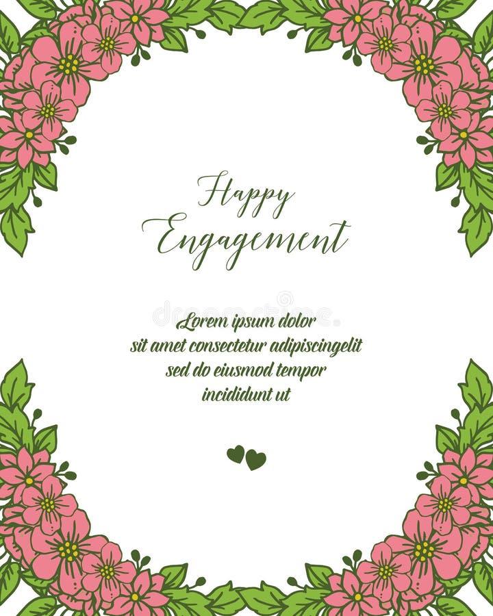 写与华丽的传染媒介例证愉快的订婚花卉框架 向量例证