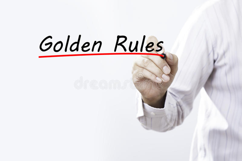 写与红色标志的商人手良好行为准则在transpa 免版税库存照片