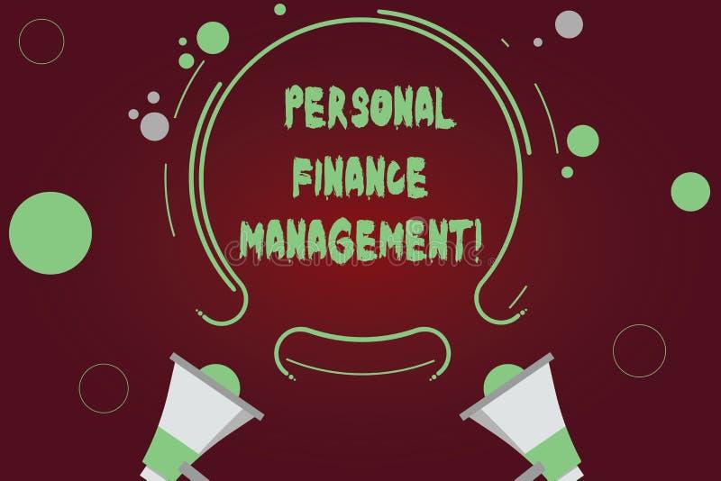 写个人理财管理的手写文本 概念意思analysisaging的收入、费用和投资两扩音机 库存照片