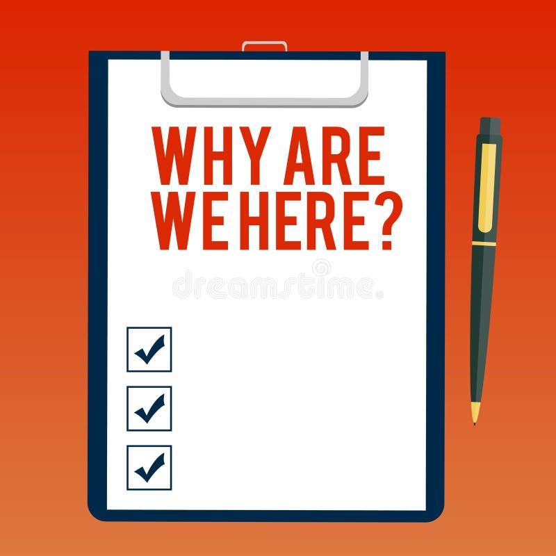 写为什么的手写文本是我们Herequestion 意味原因的概念是某处解释目的空白 向量例证