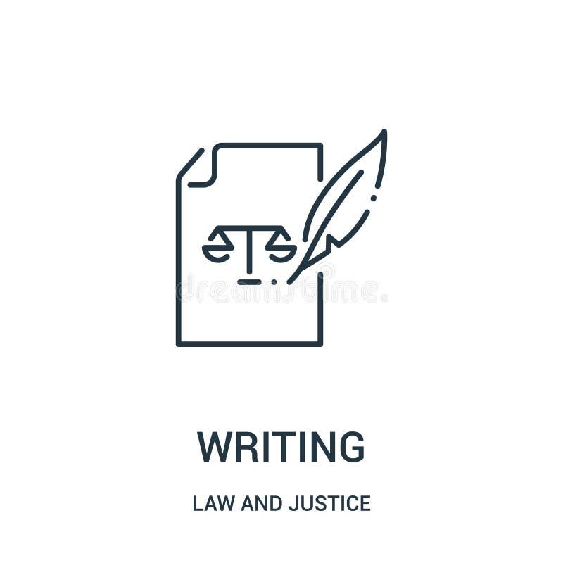 写从法律和正义汇集的象传染媒介 稀薄的线文字概述象传染媒介例证 线性标志为使用 库存例证