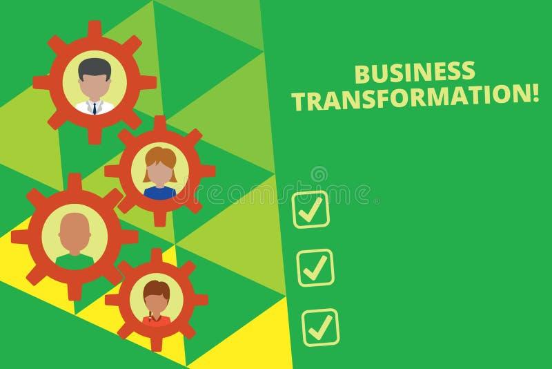 写企业变革的手写文本 概念意思与战略改善排列他们的商业模型 向量例证