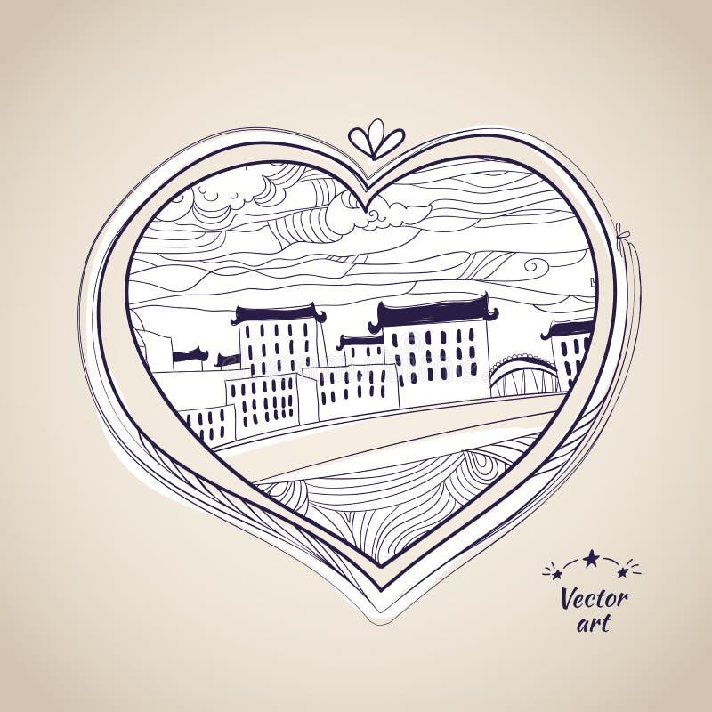 写作画的当地样式心脏形状witn都市艺术 库存例证