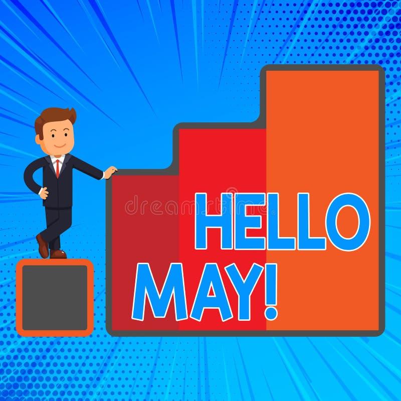 写你好5月的手写文本 愉快概念意思欢迎第五月年被考虑的上个月春天 库存例证