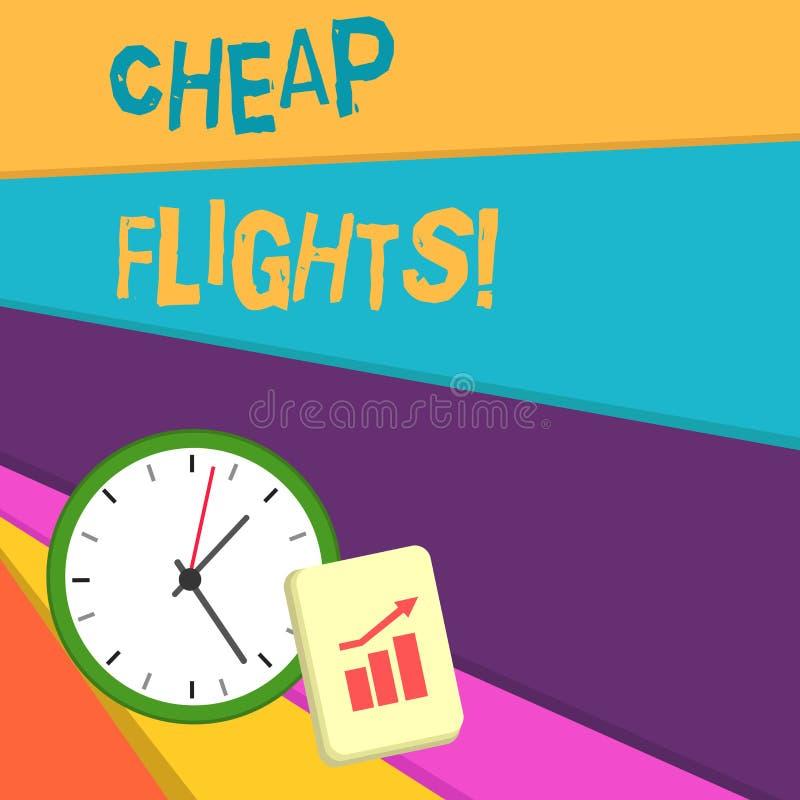 写便宜的飞行的手写文本 花费一点金钱或较少的概念意思比通常或期待的飞机票 皇族释放例证