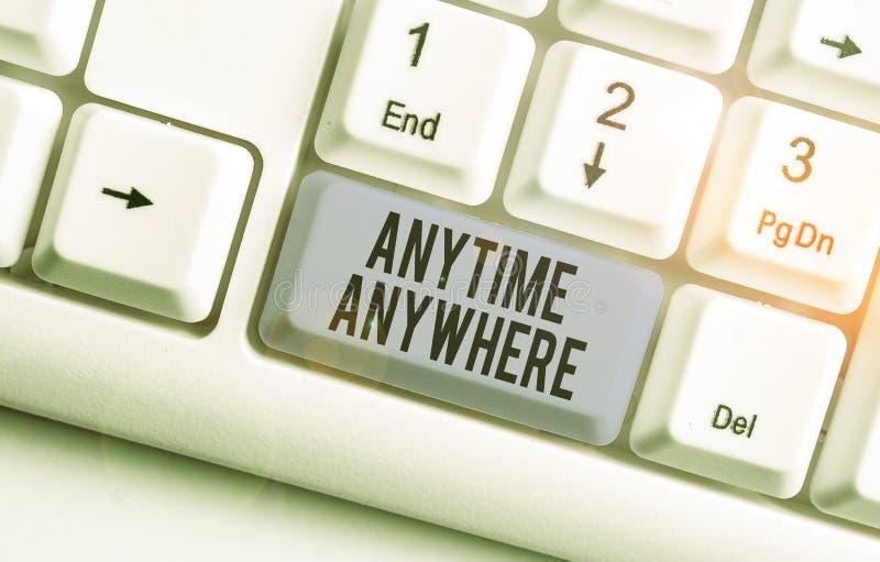写便条,显示Anytime Anywhere 商业照片展示,说你可以在任何地方做点什么 库存图片