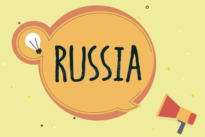 写俄罗斯的手写文本 概念意思世界最大的国家毗邻欧洲亚洲国家和海洋 向量例证