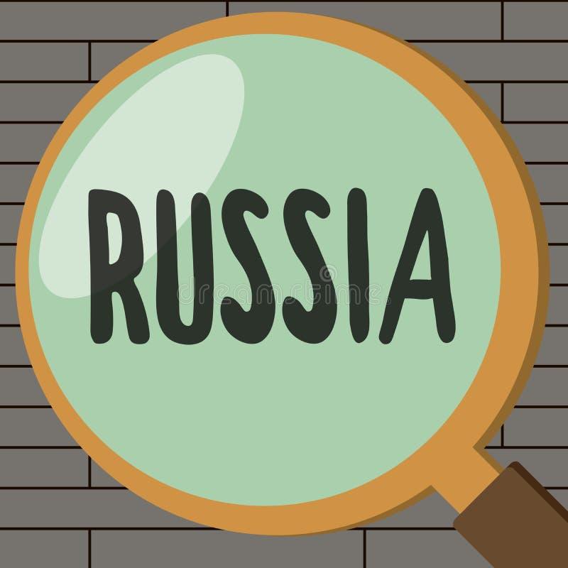 写俄罗斯的手写文本 概念意思世界最大的国家毗邻欧洲亚洲国家和海洋 库存例证