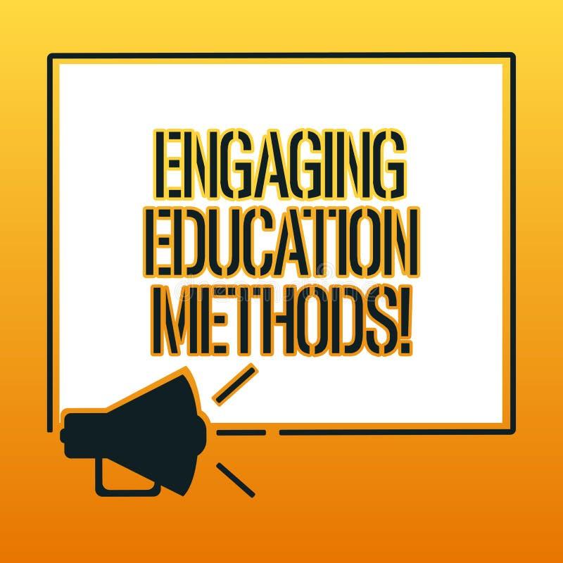 写允诺的教育方法的手写文本 意味教学策略的概念刺激学生扩音机 库存例证