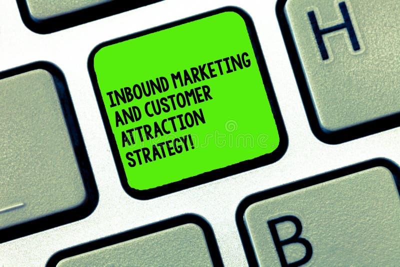 写入站营销和顾客吸引力战略的手写文本 概念意思宣传您的产品 库存图片