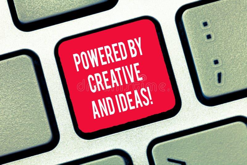 写创造性和想法供给动力的笔记陈列 陈列强有力的创造性创新好能量的企业照片 库存图片