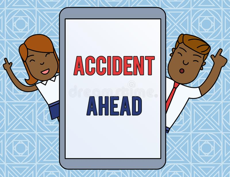 写前面文本事故的词 不幸的事件的企业概念是准备的改道避免尾板男性和 库存例证