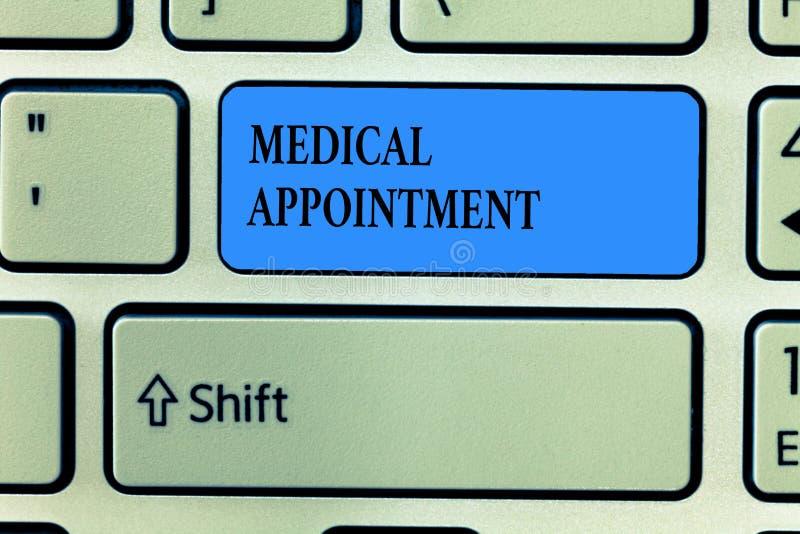 写医疗任命的手写文本 概念与一位审查的或其他医疗保健专家的意思会议 向量例证