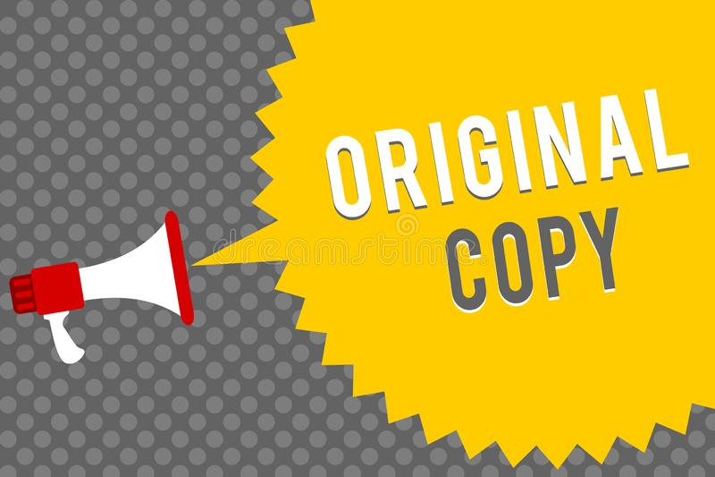 写原始的拷贝的手写文本 意味主要剧本没有印字的被烙记的给予专利的总清单扩音机扩音器s的概念 库存例证