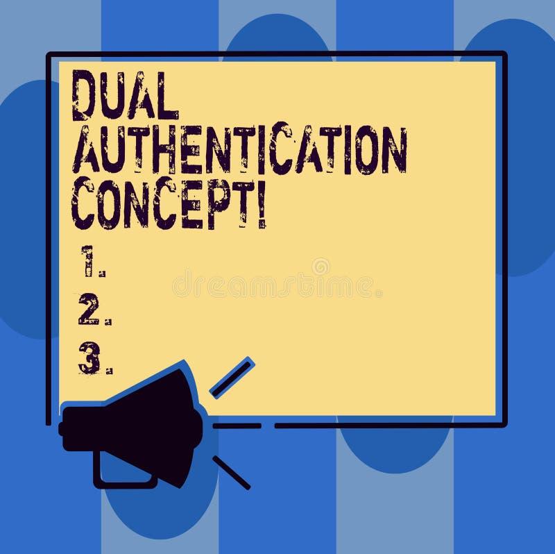 写双重认证概念的手写文本 概念意思需要证件的两种类型认证扩音机的 向量例证