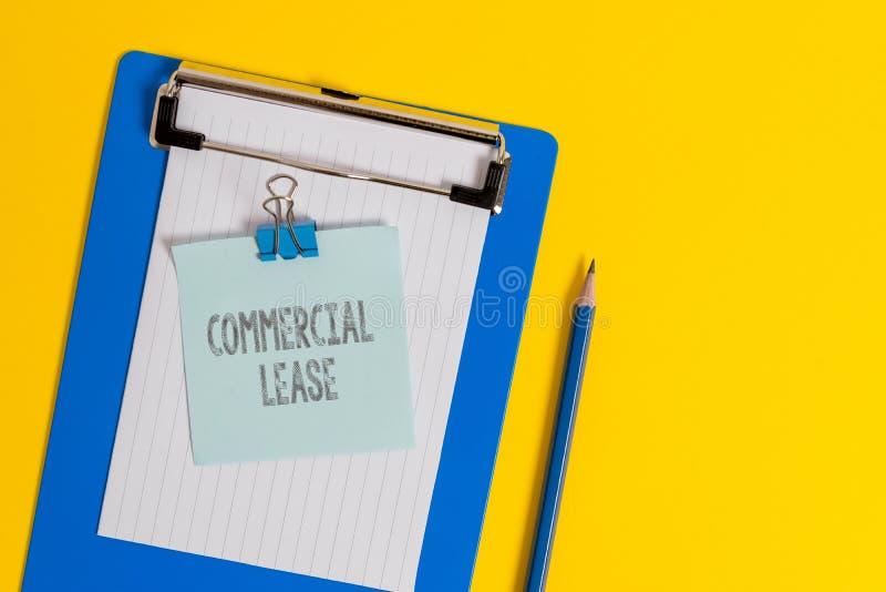 写商业租赁的手写文本 概念意思提到大厦或土地意欲创造赢利 库存图片